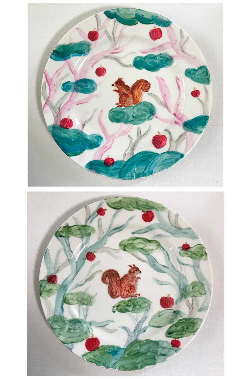 陶器ペイント りすの皿
