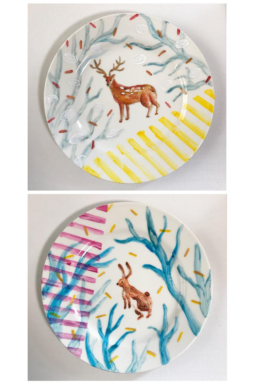陶器ペイント 鹿とうさぎの皿