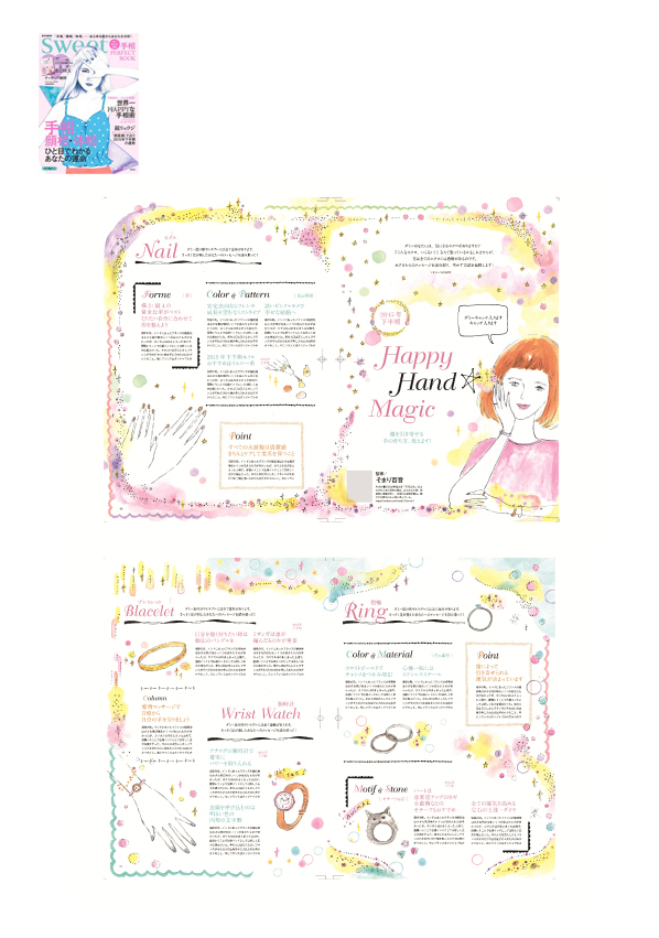 SWEET別冊「手相パーフェクトブック」イラストレーション