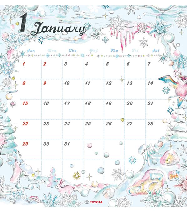 TOYOTA 2017年度カレンダー 1月