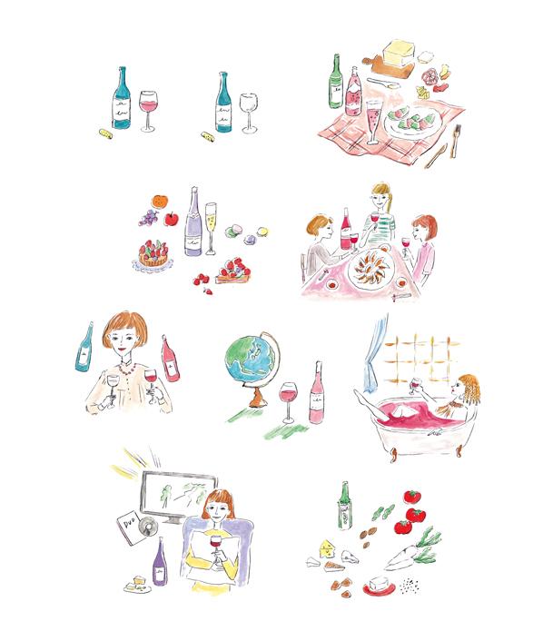 美女のワイン手帳挿絵