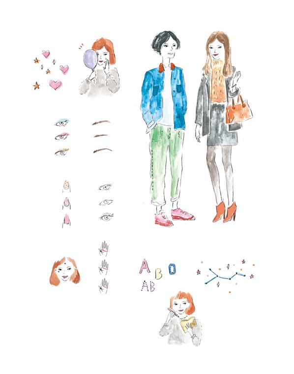 oz plus 占い大特集 福男&福女子のイラストレーション