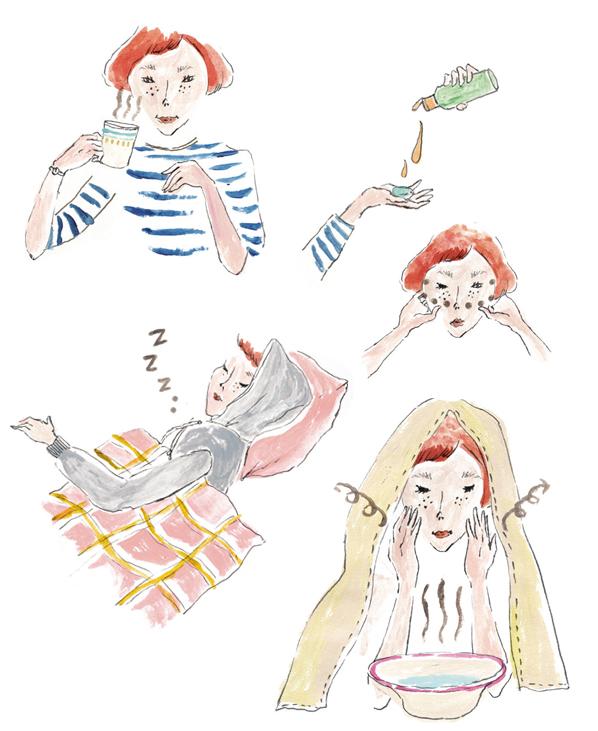 anan no.1880「肌と髪のスッピン力」イラストレーション